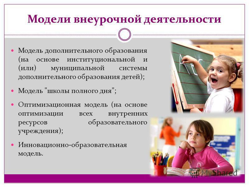 Модели внеурочной деятельности Модель дополнительного образования (на основе институциональной и (или) муниципальной системы дополнительного образования детей); Модель
