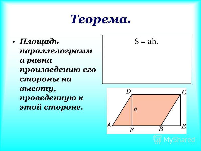 Теорема. Площадь параллелограммааммаамм а равна произведению его стороны на высоту, проведенную к этой стороне. S = ah.