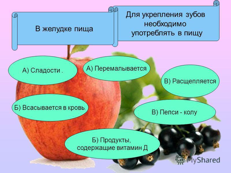 Для укрепления зубов необходимо употреблять в пищу А) Сладости. В) Пепси - колу Б) Продукты, содержащие витамин Д В желудке пища А) Перемалывается Б) Всасывается в кровь. В) Расщепляется