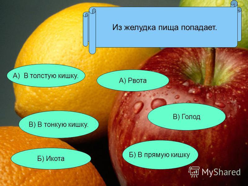 Защитная реакция желудка - это: А) Рвота В) Голод Б) Икота Из желудка пища попадает. Б) В прямую кишку В) В тонкую кишку. А) В толстую кишку.
