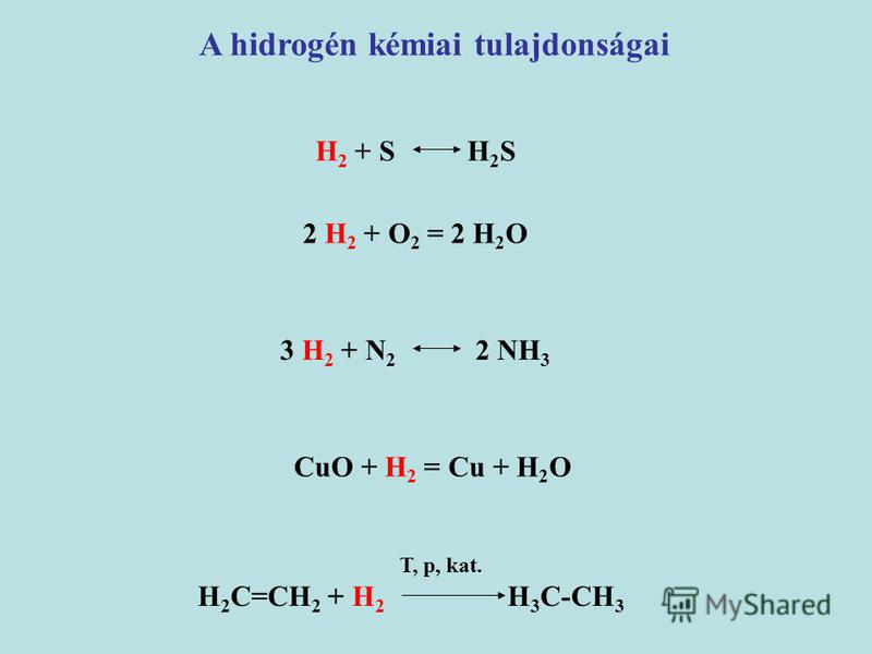 A hidrogén kémiai tulajdonságai H 2 + S H 2 S 2 H 2 + O 2 = 2 H 2 O 3 H 2 + N 2 2 NH 3 CuO + H 2 = Cu + H 2 O T, p, kat. H 2 C=CH 2 + H 2 H 3 C-CH 3