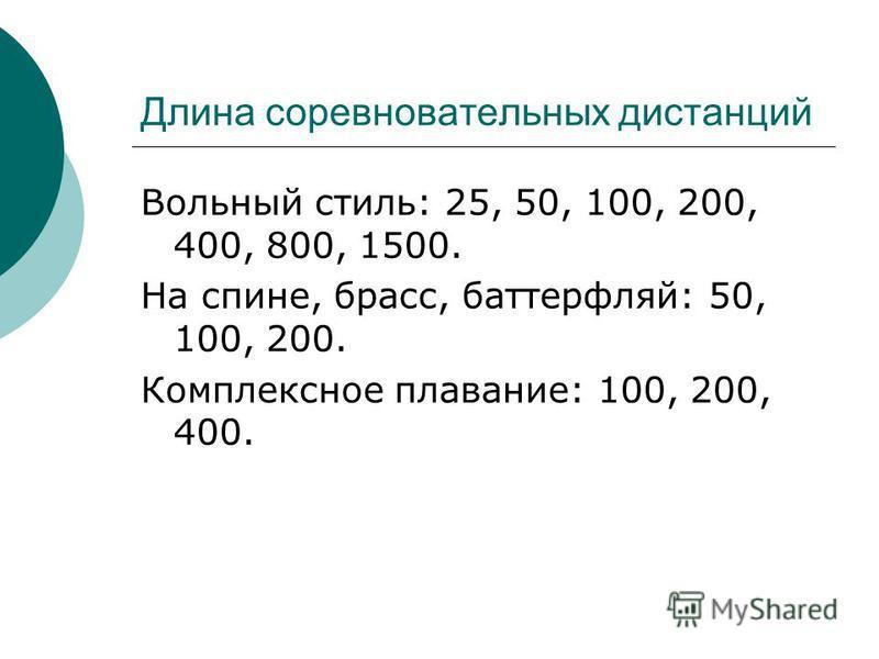 Вольный стиль: 25, 50, 100, 200, 400, 800, 1500. На спине, брасс, баттерфляй: 50, 100, 200. Комплексное плавание: 100, 200, 400. Длина соревновательных дистанций