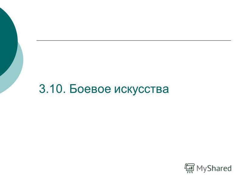 3.10. Боевое искусства