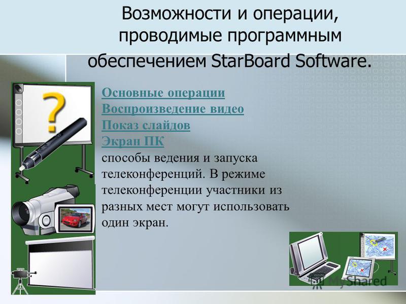 Возможности и операции, проводимые программным обеспечением StarBoard Software. Основные операции Воспроизведение видео Показ слайдов Экран ПК Показ слайдов Экран ПК способы ведения и запуска телеконференций. В режиме телеконференции участники из раз