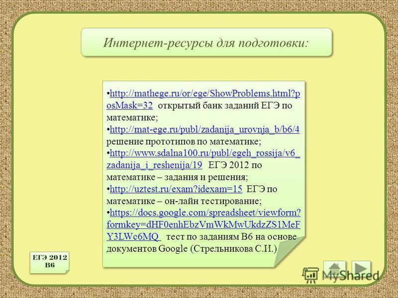 Интернет-ресурсы для подготовки: http://mathege.ru/or/ege/ShowProblems.html?p osMask=32 открытый банк заданий ЕГЭ по математике; http://mathege.ru/or/ege/ShowProblems.html?p osMask=32 http://mat-ege.ru/publ/zadanija_urovnja_b/b6/4 решение прототипов