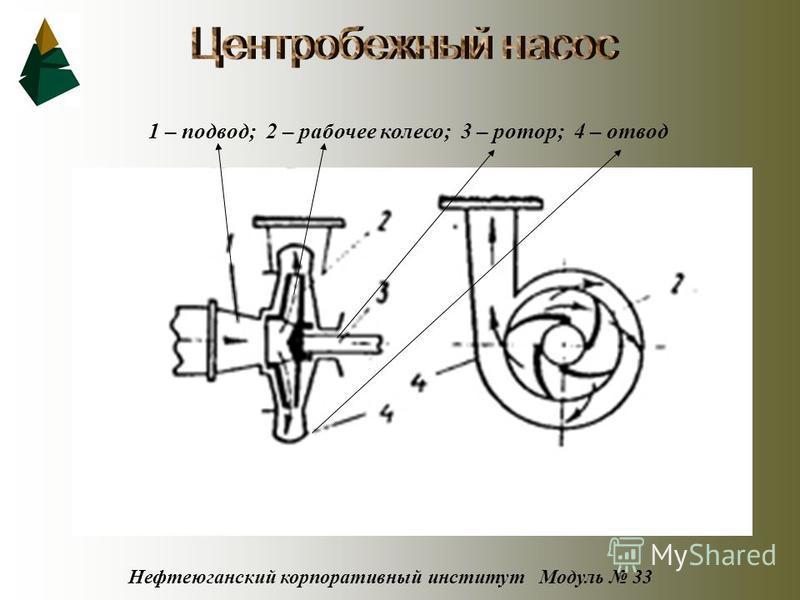 Нефтеюганский корпоративный институт Модуль 33 1 – подвод; 2 – рабочее колесо; 3 – ротор; 4 – отвод