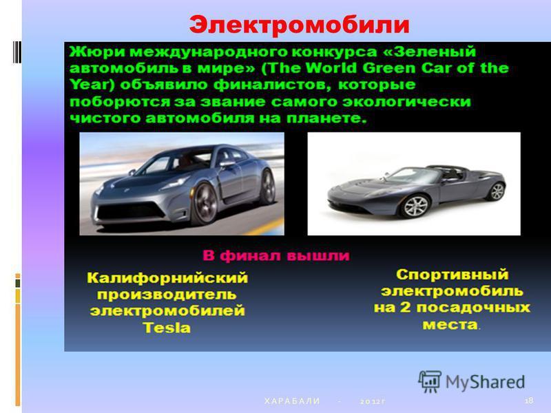 Х А Р А Б А Л И - 2 0 12 г 18 Электромобили