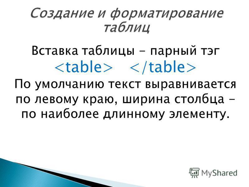 Вставка таблицы - парный тэг По умолчанию текст выравнивается по левому краю, ширина столбца - по наиболее длинному элементу.