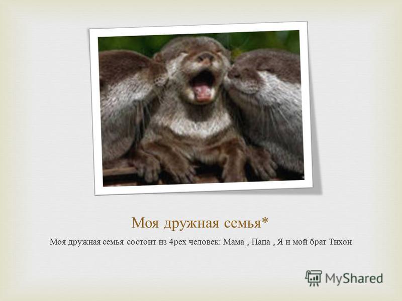 Моя дружная семья * Моя дружная семья состоит из 4 трех человек : Мама, Папа, Я и мой брат Тихон