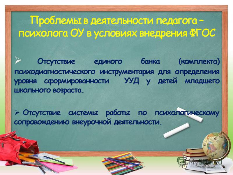 Отсутствие единого банка (комплекта) психодиагностического инструментария для определения уровня сформированности УУД у детей младшего школьного возраста. Отсутствие системы работы по психологическому сопровождению внеурочной деятельности.