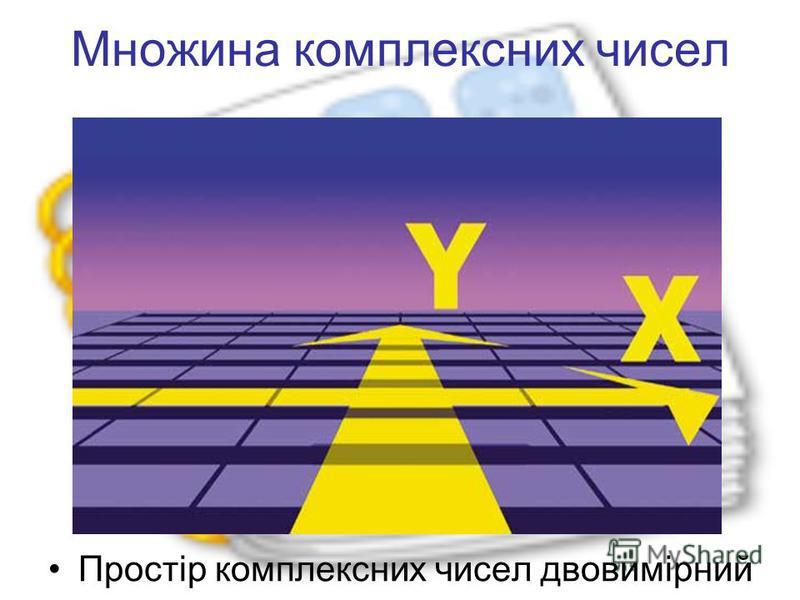 Множина комплексних чисел Простір комплексних чисел двовимірний