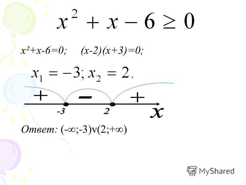 x²+x-6=0; (х-2)(х+3)=0; Ответ: (-;-3)v(2;+)