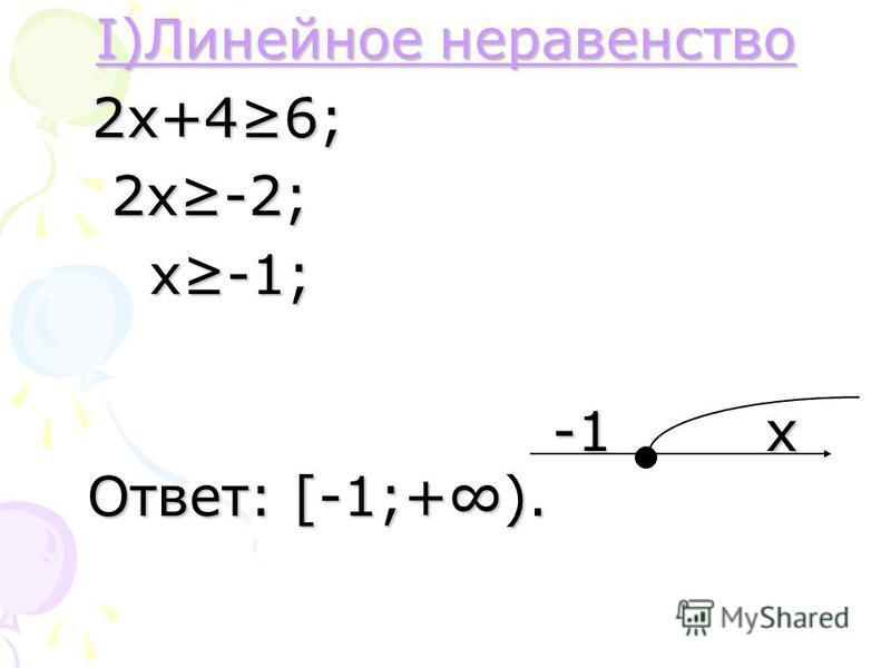 I)Линейное неравенство I)Линейное неравенство 2 х+46; 2 х+46; 2 х-2; 2 х-2; х-1; х-1; -1 х Ответ: [-1;+). -1 х Ответ: [-1;+).