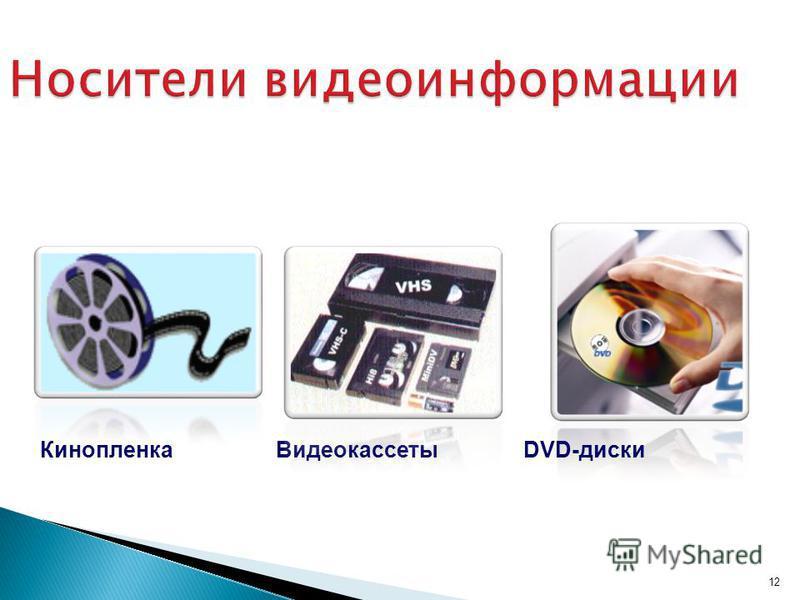 12 Носители видеоинформации ВидеокассетыDVD-диски Кинопленка