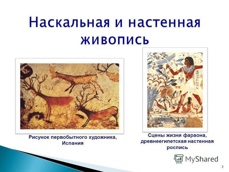 3 Рисунок первобытного художника, Испания Сцены жизни фараона, древнеегипетская настенная роспись