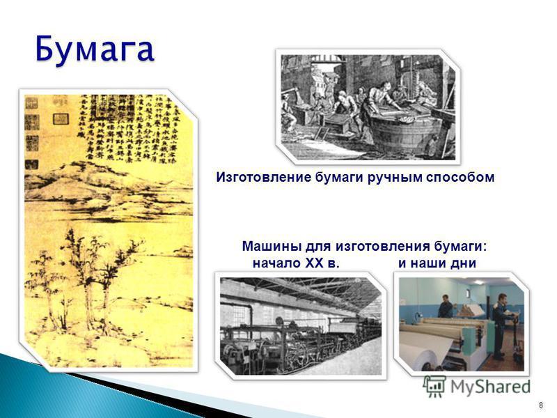 8 Изготовление бумаги ручным способом Китай, II в. Машины для изготовления бумаги: начало XX в. и наши дни