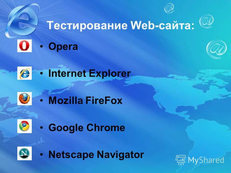 Тестирование Web-сайта: Opera Internet Explorer Mozilla FireFox Google Chrome Netscape Navigator