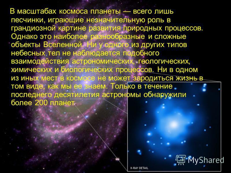 В масштабах космоса планеты всего лишь песчинки, играющие незначительную роль в грандиозной картине развития природных процессов. Однако это наиболее разнообразные и сложные объекты Вселенной. Ни у одного из других типов небесных тел не наблюдается п