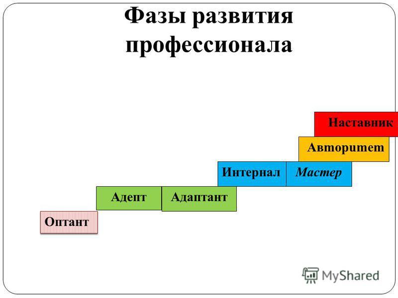 Фазы развития профессионала Наставник Aвmopumem Macmep Интернал Адаптант Адепт Оптант