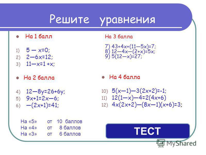 Решите уравнения На 1 балл 1) 5 х=0; 2) 26 х=12; 3) 11 х=1 +х; На 2 балла 4) 128 у=26+6 у; 5) 9 х+1=2 х 6; 6) (2 х+1)=41; На 4 балла 10) 5(х 1)3(2 х+2)=-1; 11) 12(1 х)4=2(4 х+6) 12) 4 х(2 х+2)(8 х 1)(х+6)=3; На 3 балла 7) 43+4 х+(115 х)=7; 8) 124 х(2