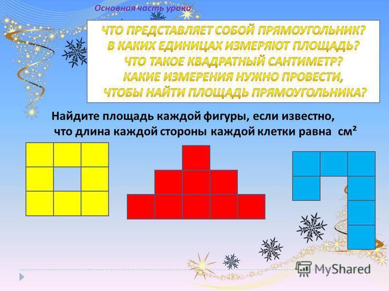 Найдите площадь каждой фигуры, если известно, что длина каждой стороны каждой клетки равна см² Основная часть урока