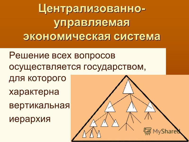 Централизованно- управляемая экономическая система Решение всех вопросов осуществляется государством, для которого характерна вертикальная иерархия