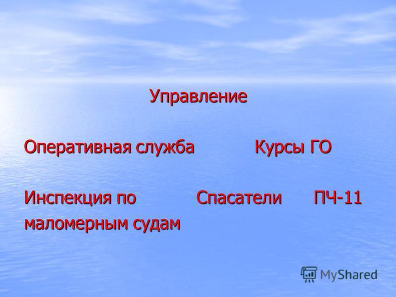 Управление Оперативная служба Курсы ГО Инспекция по Спасатели ПЧ-11 маломерным судам