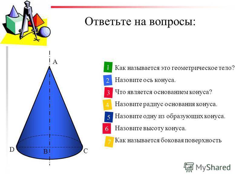 Ответьте на вопросы: Как называется это геометрическое тело? Назовите ось конуса. Что является основанием конуса? Назовите радиус основания конуса. Назовите одну из образующих конуса. Назовите высоту конуса. Как называется боковая поверхность конуса?