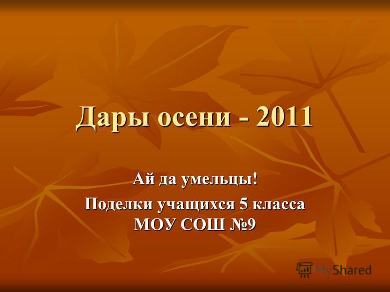Дары осени - 2011 Ай да умельцы! Поделки учащихся 5 класса МОУ СОШ 9