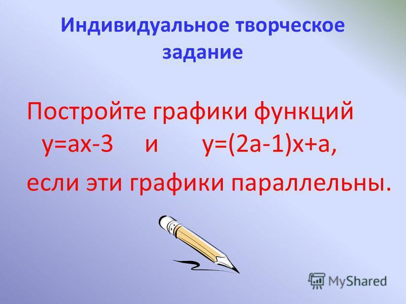 Индивидуальное творческое задание Постройте графики функций y=ax-3 и y=(2a-1)x+a, если эти графики параллельны.