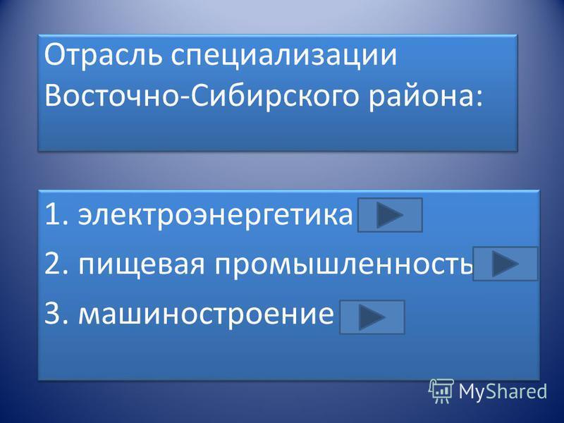 Отрасль специализации Восточно-Сибирского района: 1. электроэнергетика 2. пищевая промышленность 3. машиностроение 1. электроэнергетика 2. пищевая промышленность 3. машиностроение
