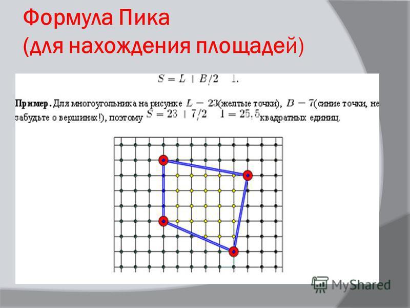 Формула Пика (для нахождения площадей)