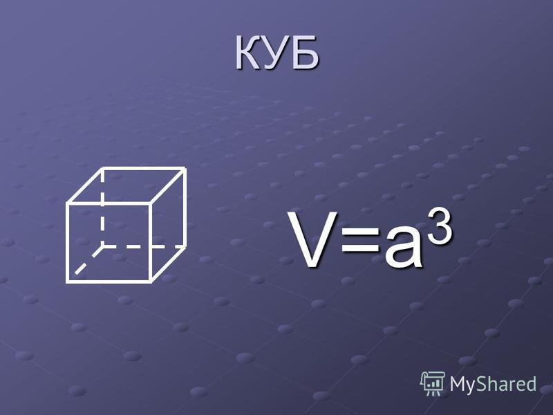 КУБ V=a 3