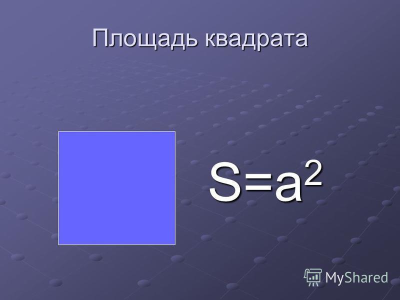 Площадь квадрата S=a 2