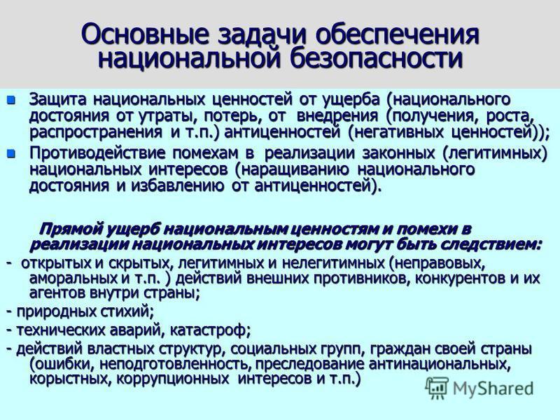 Новое определение национальной безопасности в Стратегии НБ РФ до 2020 г. «Национальная безопасность» - состояние защищенности личности, общества и государства от внутренних и внешних угроз, которое позволяет обеспечить конституционные права, свободы,