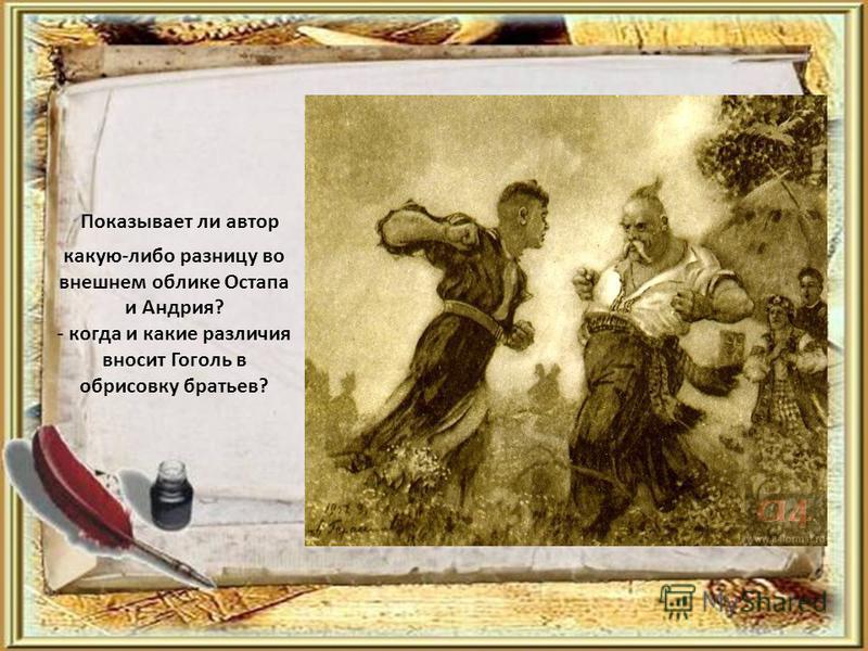 Показывает ли автор какую-либо разницу во внешнем облике Остапа и Андрия? - когда и какие различия вносит Гоголь в обрисовку братьев?