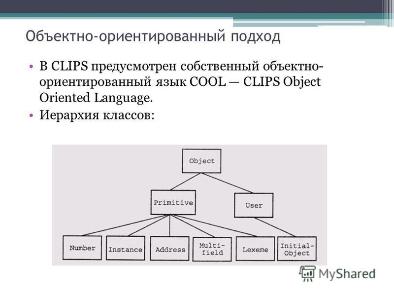 Объектно-ориентированный подход В CLIPS предусмотрен собственный объектно- ориентированный язык COOL CLIPS Object Oriented Language. Иерархия классов: