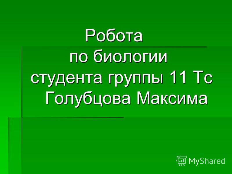 Робота по биологии студента группы 11 Тс Голубцова Максима Робота по биологии студента группы 11 Тс Голубцова Максима