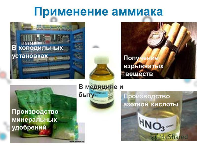 Применение аммиака В холодильных установках Получение взрывчатых веществ Производство минеральных удобрений Производство азотной кислоты В медицине и быту