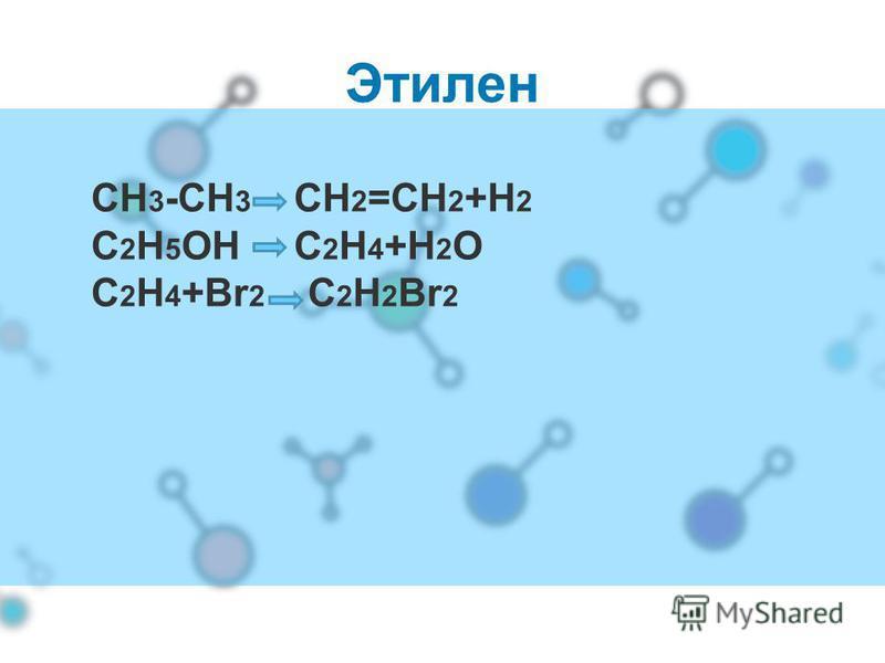 Этилен СН 3 -СН 3 СН 2 =СН 2 +Н 2 С 2 Н 5 ОН С 2 Н 4 +Н 2 О С 2 Н 4 +Вr 2 C 2 H 2 Br 2