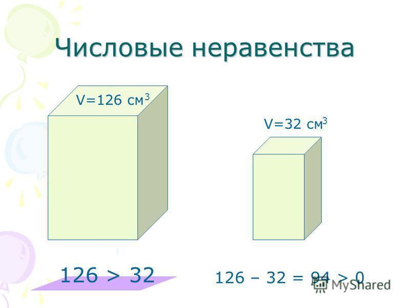 Числовые неравенства V=126 см 3 V=32 см 3 126 > 32 126 – 32 = 94 > 0