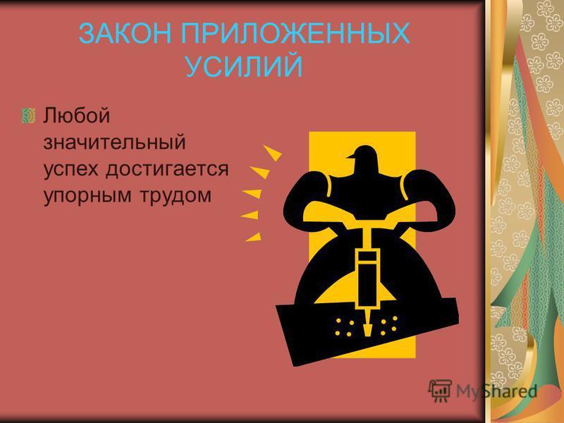 ЗАКОН ПРИЛОЖЕННЫХ УСИЛИЙ Любой значительный успех достигается упорным трудом