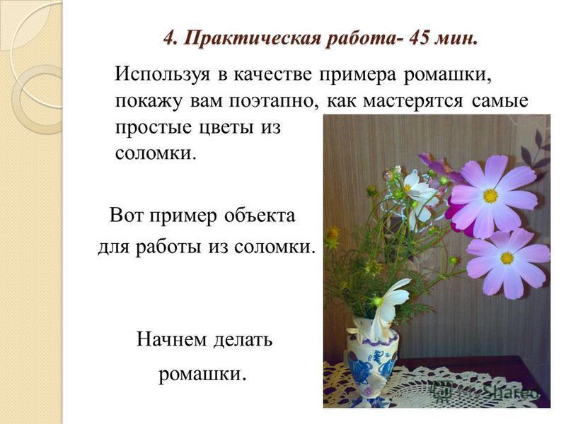 4. Практическая работа- 45 мин. Используя в качестве примера ромашки, покажу вам поэтапно, как мастерятся самые простые цветы из соломки. Вот пример объекта для работы из соломки. Начнем делать ромашки.