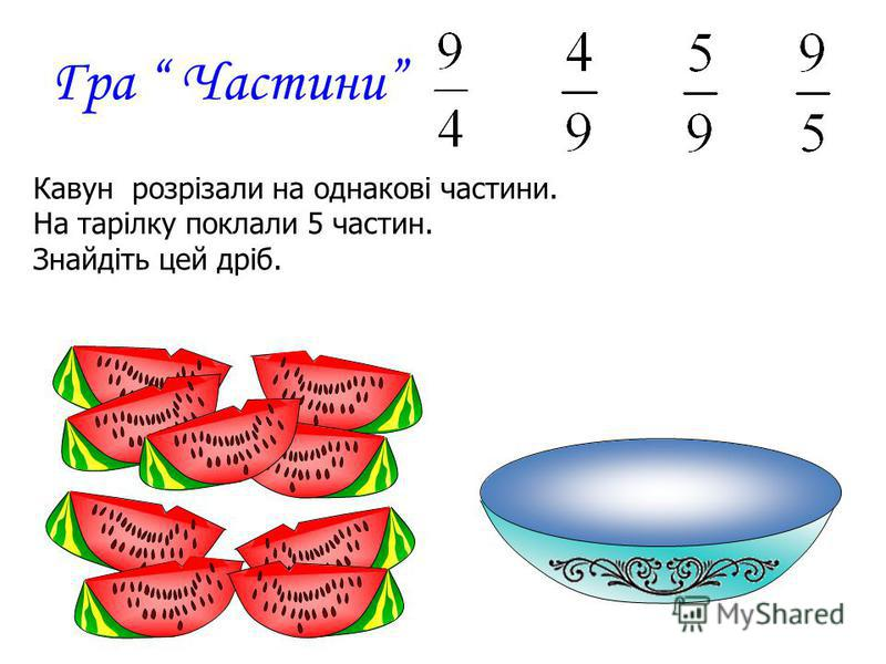 Гра Частини Кавун розрізали на однакові частини. На тарілку поклали 5 частин. Знайдіть цей дріб.