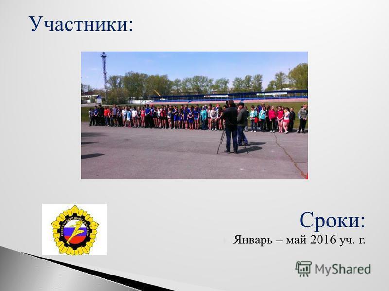 Участники: Сроки: Январь – май 2016 уч. г.