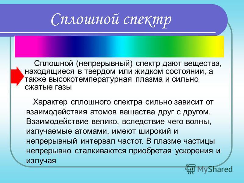 Сплошной спектр Сплошной (непрерывный) спектр дают вещества, находящиеся в твердом или жидком состоянии, а также высокотемпературная плазма и сильно сжатые газы Характер сплошного спектра сильно зависит от взаимодействия атомов вещества друг с другом