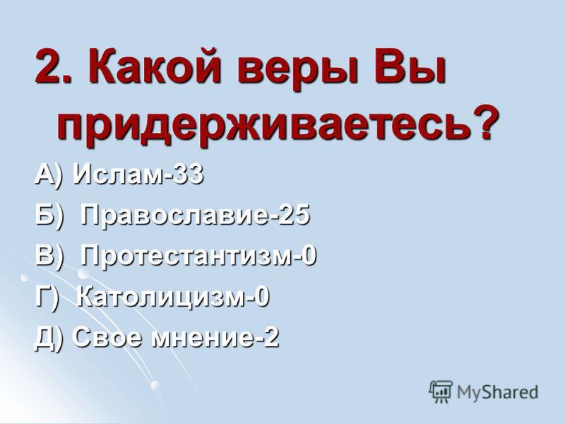 2. Какой веры Вы придерживаетесь? А) Ислам-33 Б) Православие-25 В) Протестантизм-0 Г) Католицизм-0 Д) Свое мнение-2