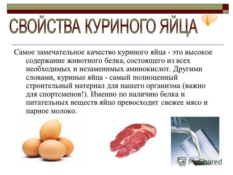Самое замечательное качество куриного яйца - это высокое содержание животного белка, состоящего из всех необходимых и незаменимых аминокислот. Другими словами, куриные яйца - самый полноценный строительный материал для нашего организма (важно для спо