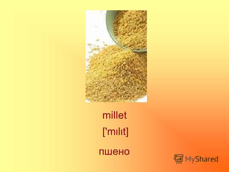 millet ['mlt] пшено