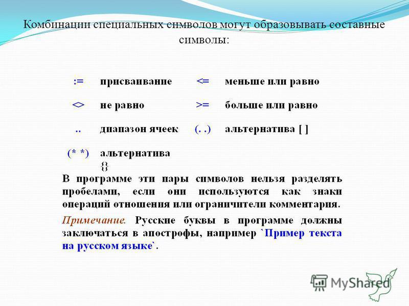 Комбинации специальных символов могут образовывать составные символы: